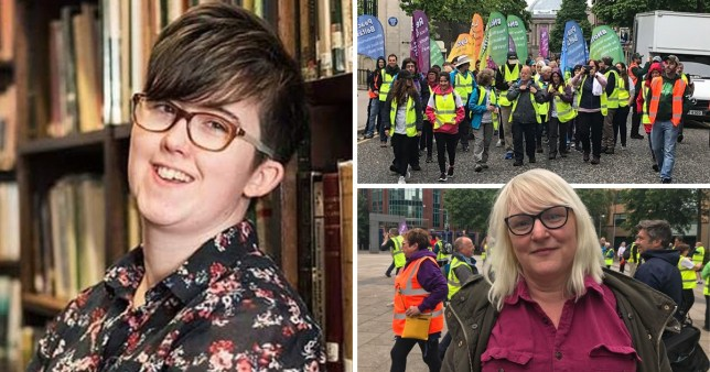 Murdered journalist Lyra McKee next to pictures of people marching in her memory and a picture of Lyra's Walk organiser Brenda Gough.