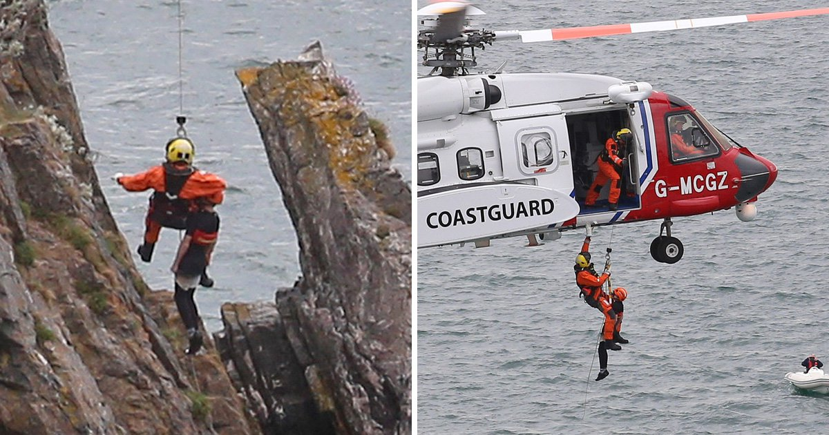 Two boys stuck on '75-foot' cliff face rescued by helicopter