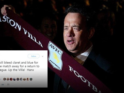 Tom Hanks shows his die-hard support for Aston Villa and football fans are losing their minds