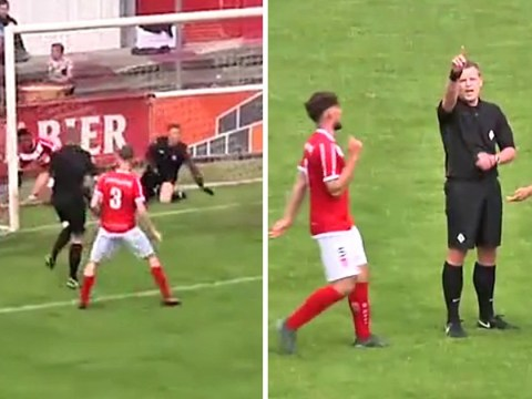 Referee accidentally scores a goal and it counts