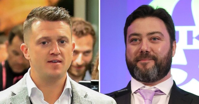 Tommy Robinson on the night of the European Election results next to a picture of UKIP candidate Carl Benjamin aka Sargon of Akkad