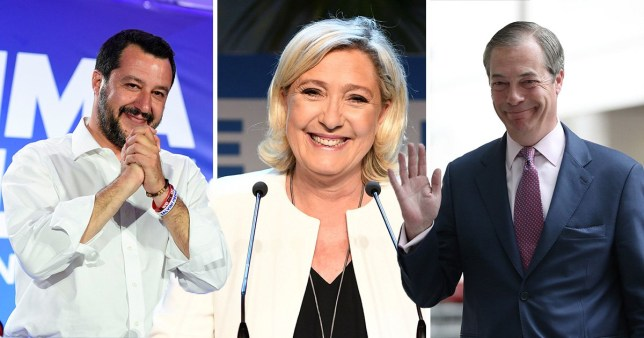 Italy's Matteo Salvini, France's Marine Le Pen and Nigel Farage