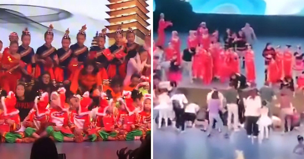 Terrifying moment stage collapses with more than 100 children on it