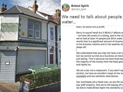 Bristol bar owner sparks online debate after moaning at customers for ordering tap water