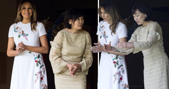 Melania Trump and Akie Abe, wife of Japanese Prime Minister Shinzo Abe look at koi carps in a pond at the Japanese style annex inside the State Guest House