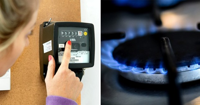 Picture of a gas metre next to a picture of a burning cooking hob.