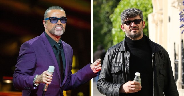 George Michael performing on stage alongside his boyfriend Fadi Fawaz