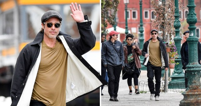 Brad Pitt spotted in Venice with Thomas Houseago and his partner Muna El Fituri,