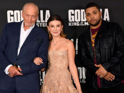 Millie Bobby Brown proudly poses with Godzilla's leading men Charles Dance and O'Shea Jackson Jr