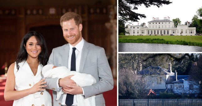 Picture of Meghan Markle Duchess of Sussex, Prince Harry Duke of Sussex and baby Archie Harrison next to two pictures of Frogmore Cottage in the grounds of Windsor Castle.