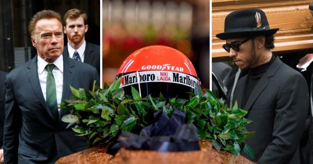 Lewis Hamilton joins Arnold Schwarzenegger for Niki Lauda's funeral (Picture: Getty/REUTERS/AFP)
