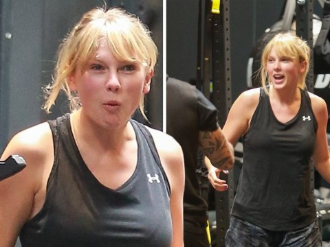 Taylor Swift grins away as she gets workout in ahead of new album release