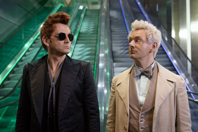 Michael Sheen as the Angel and David Tennant as the Demon in Good Omens