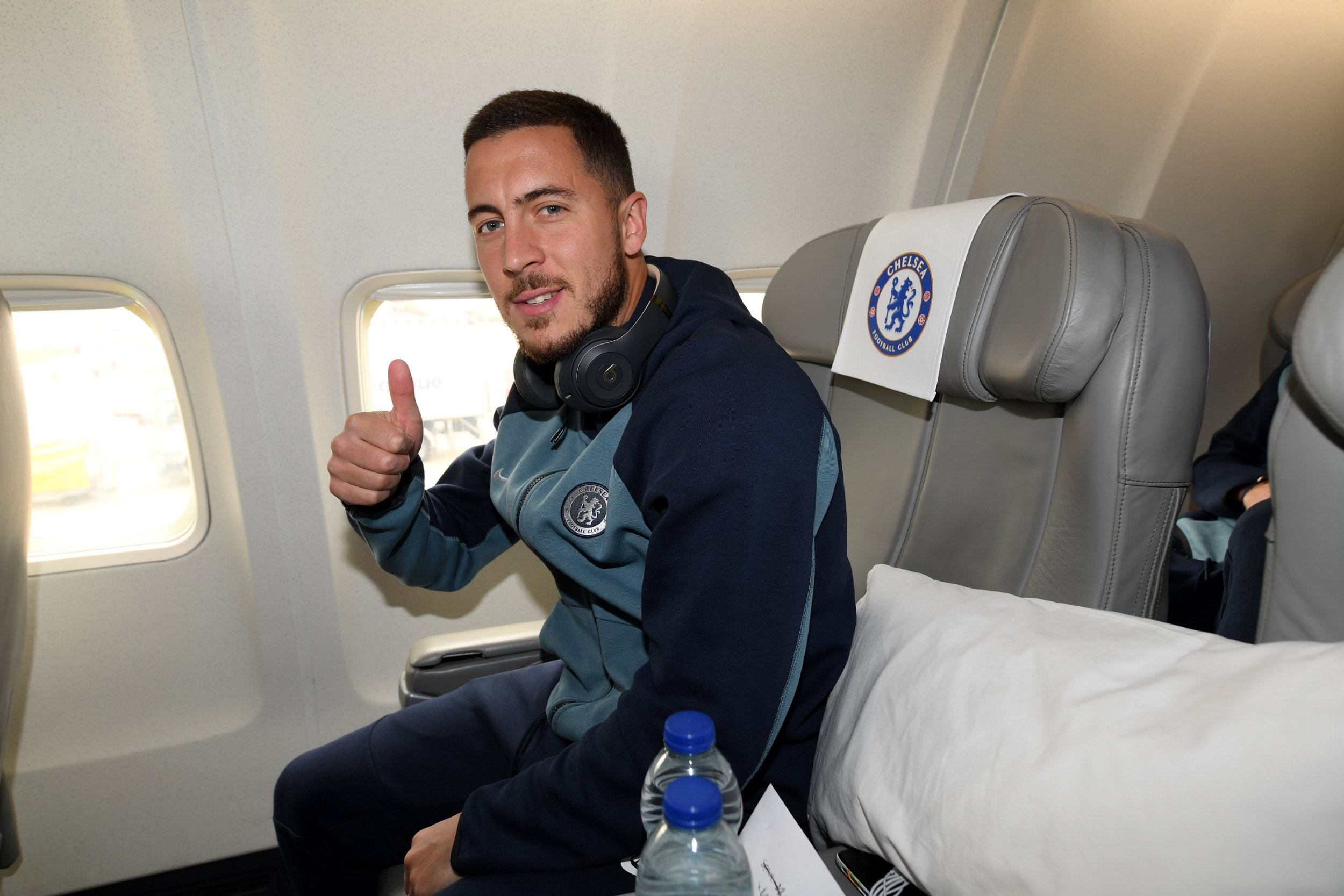CRAWLEY, ENGLAND - MAY 01: Eden Hazard of Chelsea as the team board the plane to Frankfurt at Gatwick Airport on May 1, 2019 in Gatwick, England. (Photo by Darren Walsh/Chelsea FC via Getty Images)