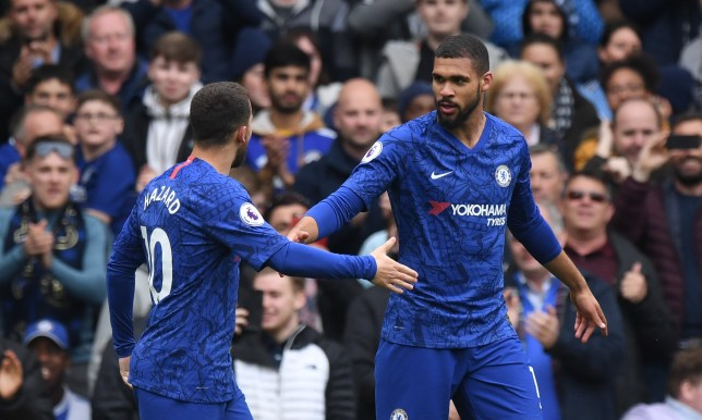 epa07548937 Chelsea's Ruben Loftus Cheek (R) celebrates with team mate Eden Hazard after scoring a goal during the English Premier League soccer match between Chelsea FC and Watford FC at Stamford Bridge in London, Britain, 05 May 2019. EPA/FACUNDO ARRIZABALAGA EDITORIAL USE ONLY. No use with unauthorized audio, video, data, fixture lists, club/league logos or 'live' services. Online in-match use limited to 120 images, no video emulation. No use in betting, games or single club/league/player publications.