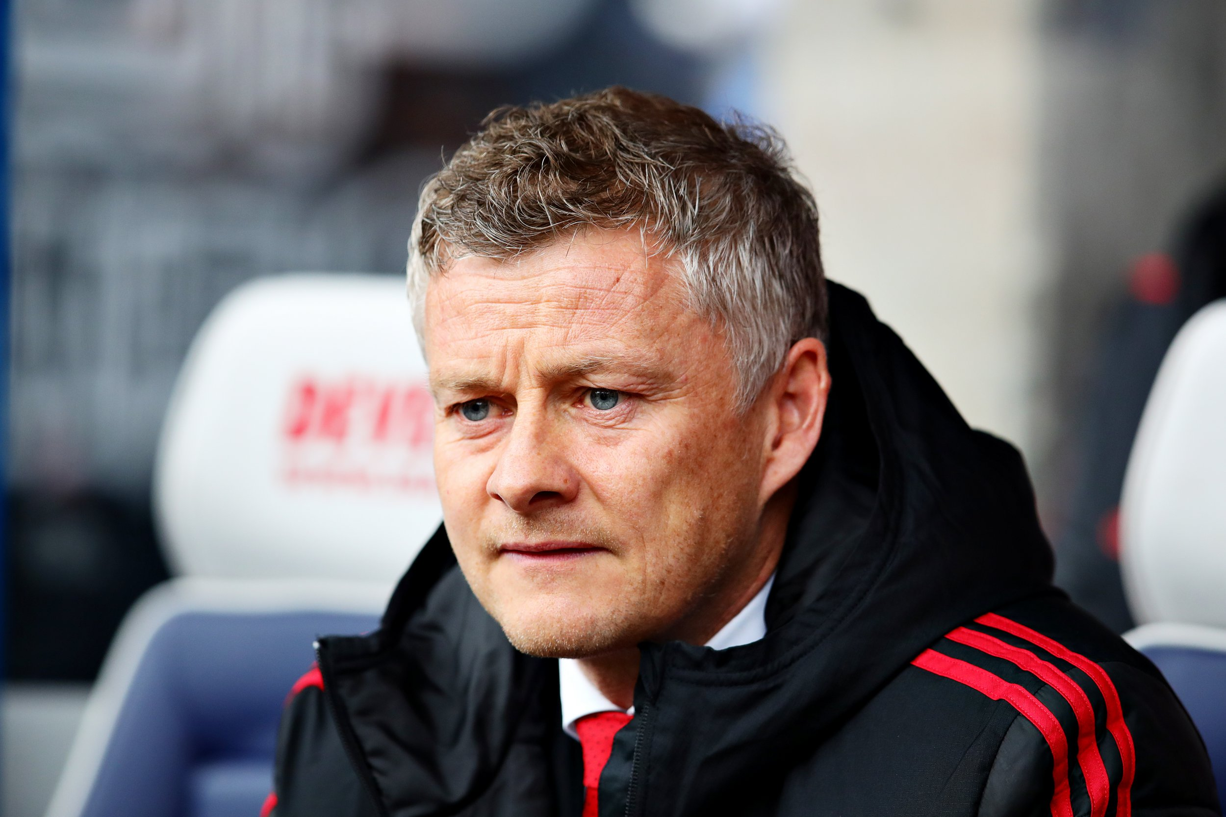 HUDDERSFIELD, ENGLAND - MAY 05: Manager of Manchester United Ole Gunnar Solskjaer looks on from the dugout during the Premier League match between Huddersfield Town and Manchester United at John Smith's Stadium on May 05, 2019 in Huddersfield, United Kingdom. (Photo by Chris Brunskill/Fantasista/Getty Images)