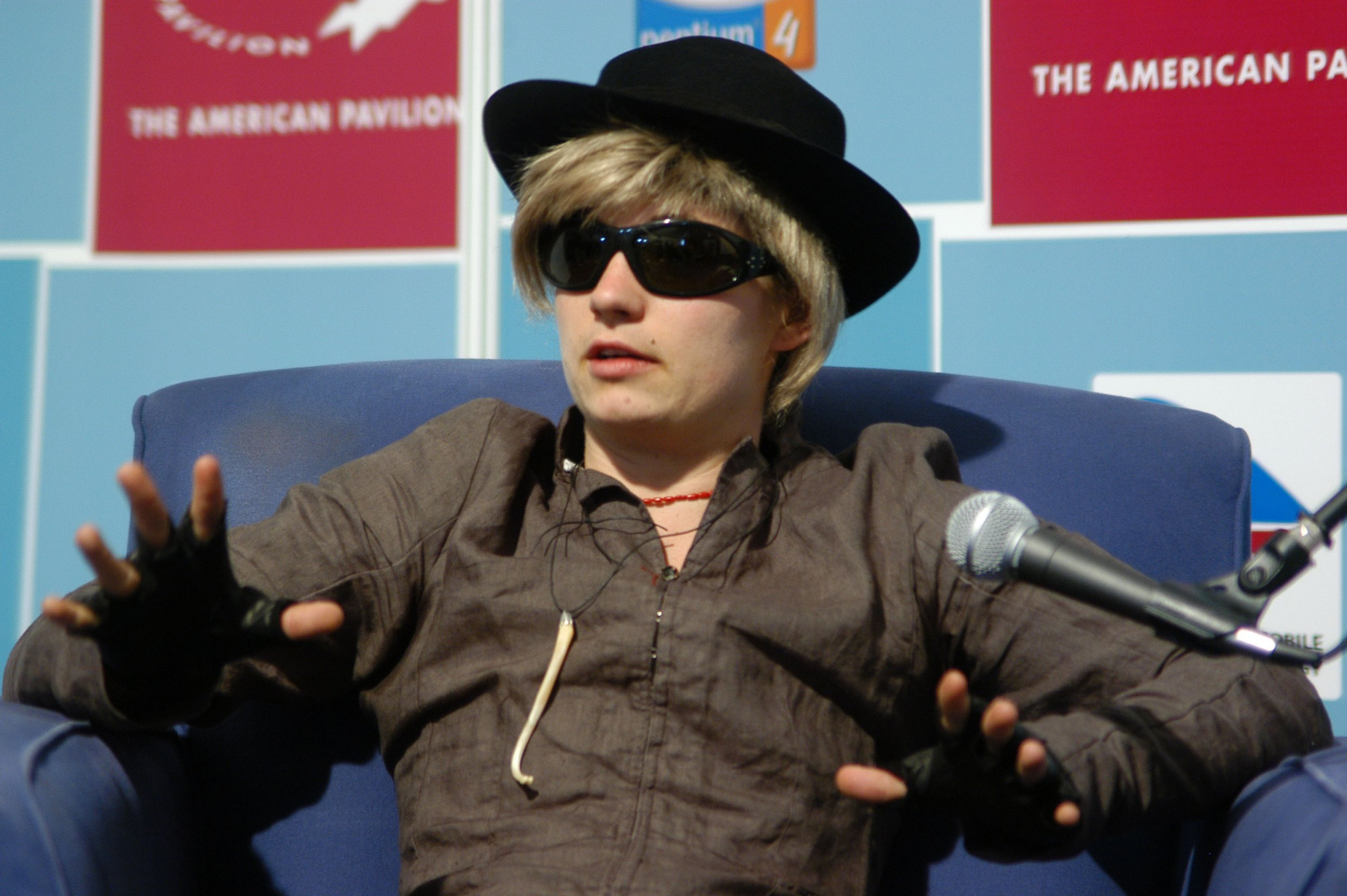 """""""JT LeRoy"""" (Savannah Knoop) during 2004 Cannes Film Festival - In Conversation with Asia Argento and """"JT LeRoy"""" at American Pavilion in Cannes, France. (Photo by Rebecca Sapp/WireImage)"""