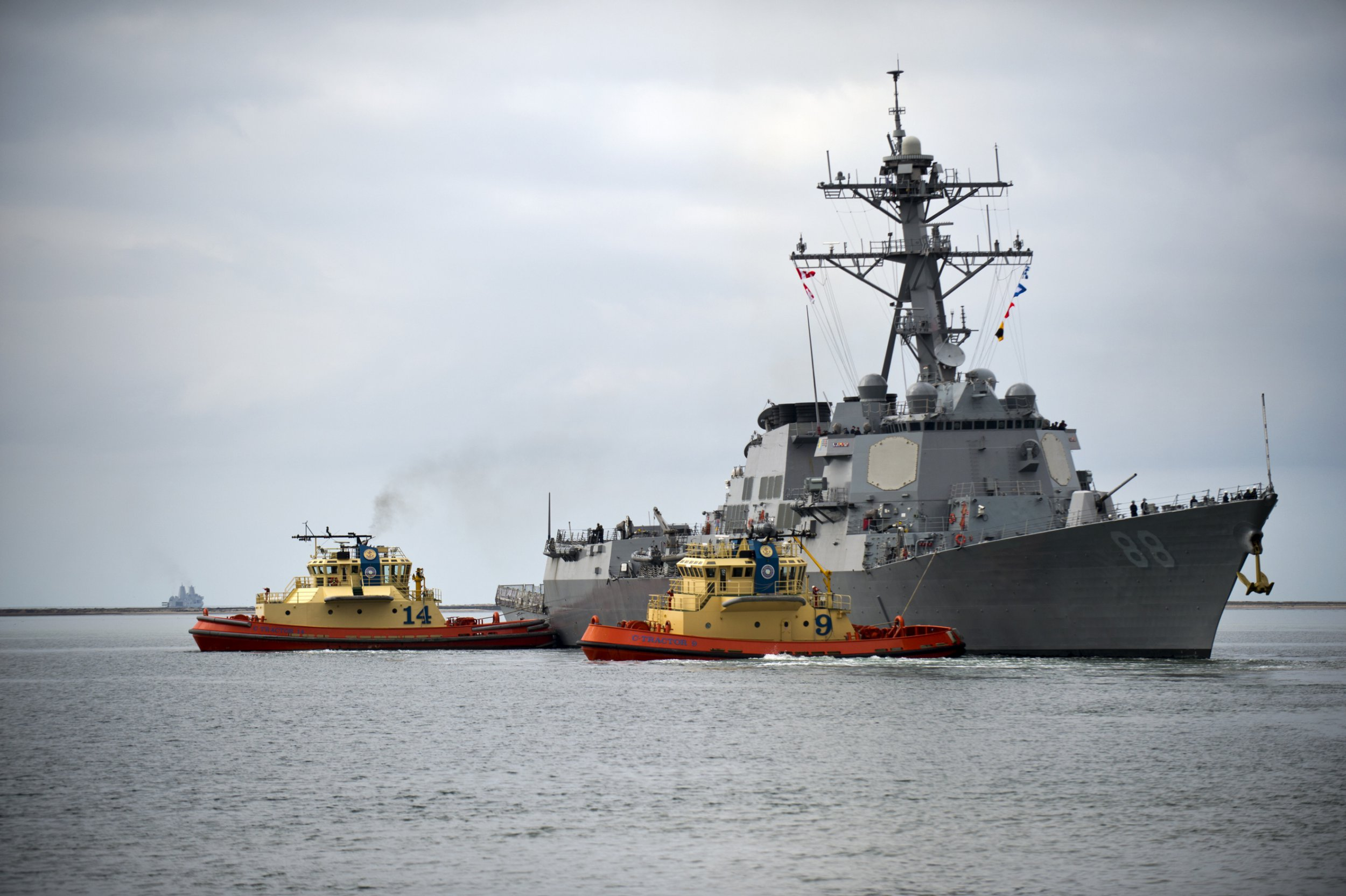 The Arleigh Burke-class guided-missile destroyer USS Preble departs Naval Base San Diego for a scheduled underway, San Diego, California, February 6, 2013. (Photo via Smith Collection/Gado/Getty Images).