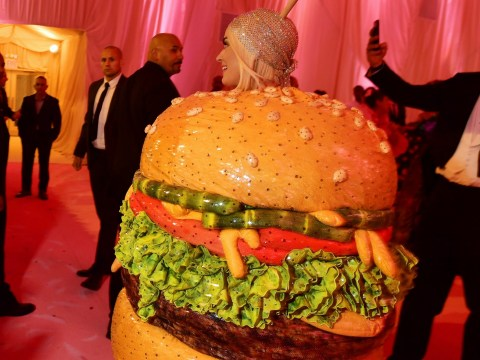Jennifer Lopez doesn't know where to look as she walks in on Katy Perry changing into burger costume at Met Gala 2019 party