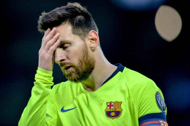 epa07554488 Barcelona's Lionel Messi reacts during the UEFA Champions League semi final second leg soccer match between Liverpool FC and FC Barcelona at Anfield stadium in Liverpool, Britain, 07 May 2019. EPA/PETER POWELL
