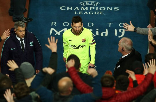 LIVERPOOL, ENGLAND - MAY 07: Lionel Messi of Barcelona makes his way back into the tunnel after the final whistle during the UEFA Champions League Semi Final second leg match between Liverpool and Barcelona at Anfield on May 07, 2019 in Liverpool, England. (Photo by Jan Kruger - UEFA/UEFA via Getty Images)