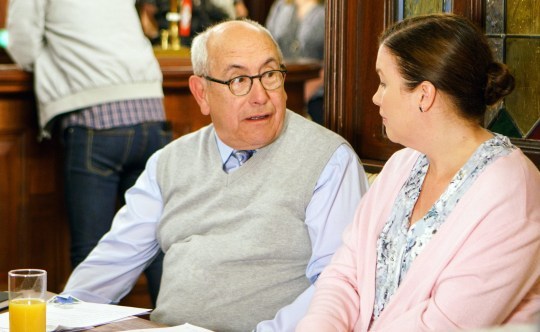 Television programme : Coronation Street - Ep 9205 Monday 10th July 2017 - 2nd Ep Mary Taylor [PATTI CLARE] confronts Norris Cole [MALCOLM HEBDEN] with the letter. Picture contact - david.crook@itv.com Photographer - Mark Bruce This photograph is (C) ITV Plc and can only be reproduced for editorial purposes directly in connection with the programme or event mentioned above, or ITV plc. Once made available by ITV plc Picture Desk, this photograph can be reproduced once only up until the transmission [TX] date and no reproduction fee will be charged. Any subsequent usage may incur a fee. This photograph must not be manipulated [excluding basic cropping] in a manner which alters the visual appearance of the person photographed deemed detrimental or inappropriate by ITV plc Picture Desk. This photograph must not be syndicated to any other company, publication or website, or permanently archived, without the express written permission of ITV Plc Picture Desk. Full Terms and conditions are available on the website www.itvpictures.com