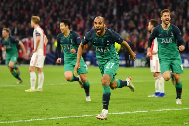 Lucas Moura of Tottenham celebrates after scoring his team's third goal during the UEFA Champions League Semi Final second leg match between Ajax and Tottenham Hotspur at the Johan Cruyff Arena on May 08, 2019 in Amsterdam, Netherlands. (Photo by Dan Mullan/Getty Images )