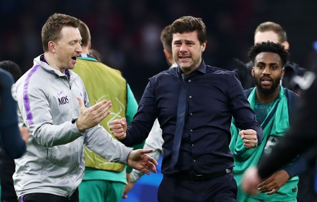 Tottenham Manager Mauricio Pochettino is seen in tears at full time after Spurs beat Ajax to reach the Champions League final