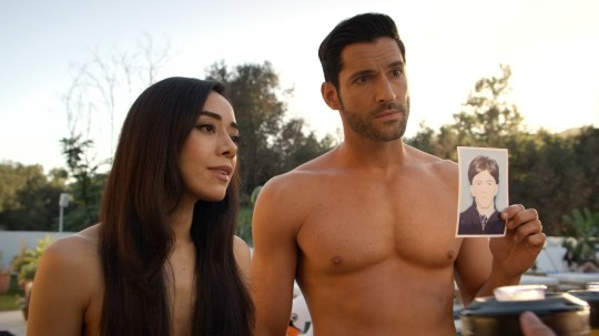 Lucifer, played by Tom Ellis, pictured with Eve, played by Inbar Lavi on the Netflix show
