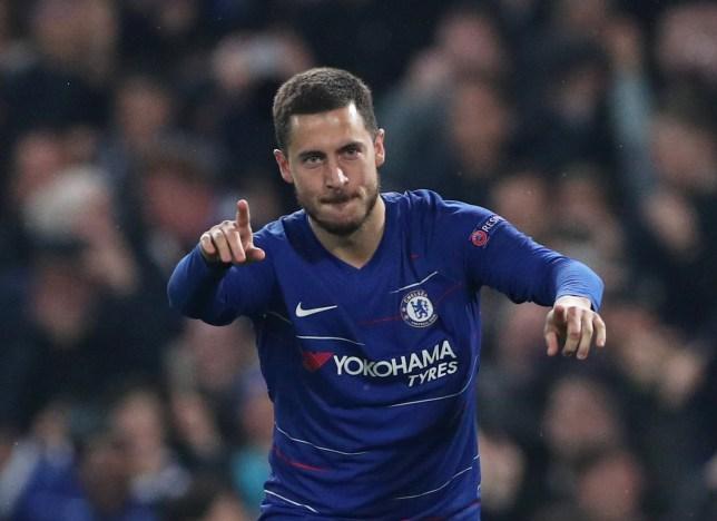 Eden Hazard celebrating at Chelsea v Eintracht Frankfurt