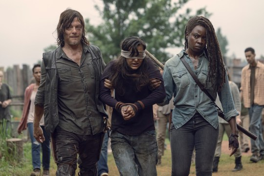Caption: Danai Gurira as Michonne, Norman Reedus as Daryl Dixon, Cassady McClincy as Lydia??- The Walking Dead _ Season 9, Episode 9 - Photo Credit: Jackson Lee Davis/AMC Photographer: Jackson Lee Davis/AMC Copyright: ? 2018 AMC Film Holdings LLC. All Rights Reserved.