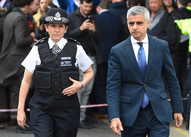 epa07561938 (FILE) - Mayor of London, Sadiq Khan (R) and Metropolitan Police Commissioner, Cressida Dick (L) visit the site of an attack at London Bridge in London, Britain, 05 June 2017, reissued 11 May 2019, reissued 11 May 2019. Media reports on 11 May 2019 state that Sadiq Khan has been given 24 hour police protection after receiving hundreds of threats on social media. EPA/FACUNDO ARRIZABALAGA *** Local Caption *** 53568420
