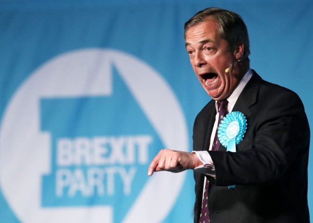 Brexit Party leader Nigel Farage holding a speech during his European Election campaign trail in Durham