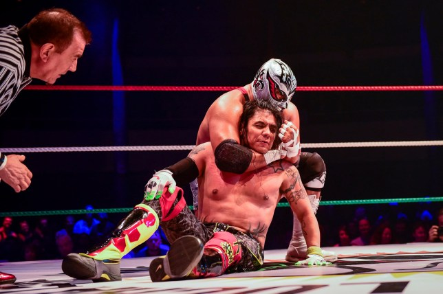 "Alamy Live News. T895GP London, UK. 11 May 2019. Cesar Gonzalez, better known as Silver King, (back) executes a choke hold on Eduardo Hernandez, better known as during Juventud ""Juvi"" Guerrera (front), during their bout in the evening slot of The Greatest Show of Lucha Libre"" at the Roundhouse in Camden, which has been transformed into a classic Mexican arena for one day only. Silver King, aged 51, would go on to suffer a serious injury in the fight requiring CPR and an ambulance being called. The venue cleared immediately. It is reported that Silver King did not recover and passed away but the exact cause is as ye This is an Alamy Live News image and may not be part of your current Alamy deal . If you are unsure, please contact our sales team to check."