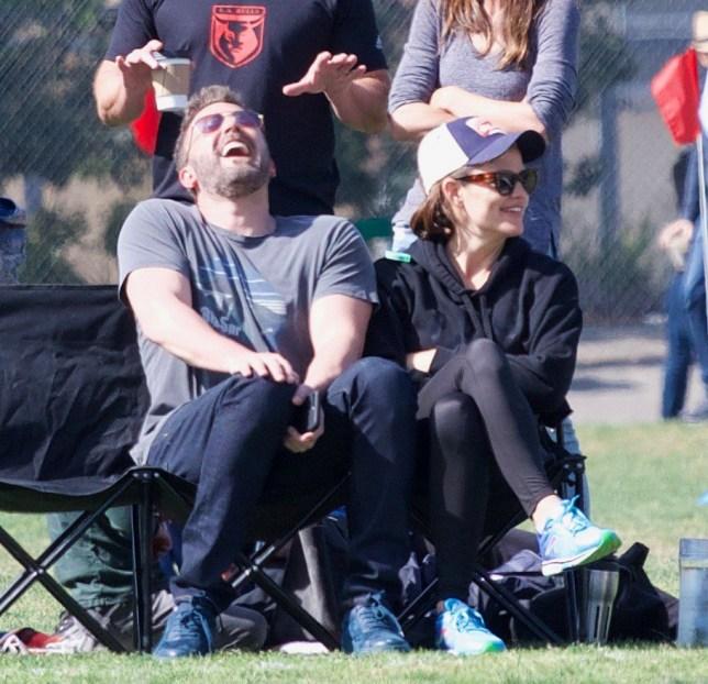 Jennifer Garner and Ben Affleck at their children's football match