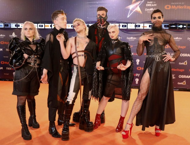 Hatari of Iceland poses during a presentation of the 2019 Eurovision Song Contest participants in Tel Aviv, Israel, Sunday, May 12, 2019.(AP Photo/Ariel Schalit)