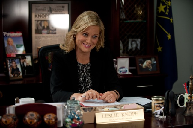 "PARKS AND RECREATION -- ""Two Parties"" Episode 510 -- Pictured: Amy Poehler as Leslie Knope -- (Photo by: Colleen Hayes/NBC/NBCU Photo Bank via Getty Images)"