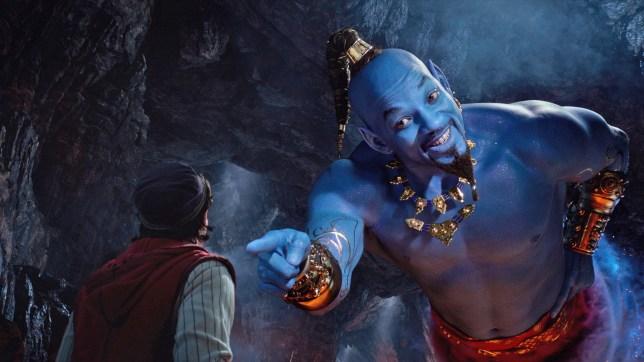 Aladdin (Mena Massoud) meets the larger-than-life blue Genie (Will Smith) in Disney????????s live-action adaptation ALADDIN, directed by Guy Ritchie.
