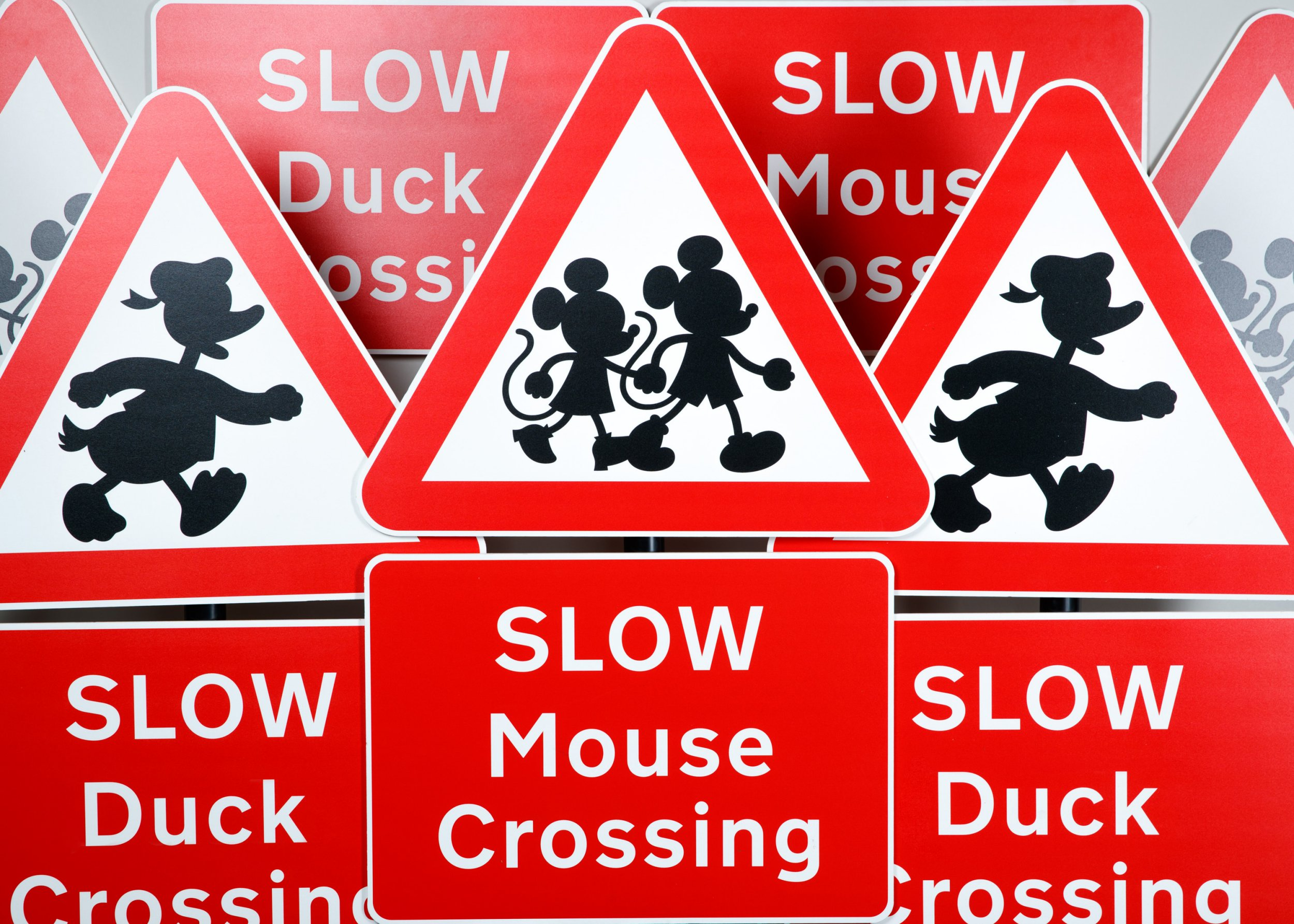Mickey Mouse and Donald Duck added to road signs to encourage kids to be roadsafe