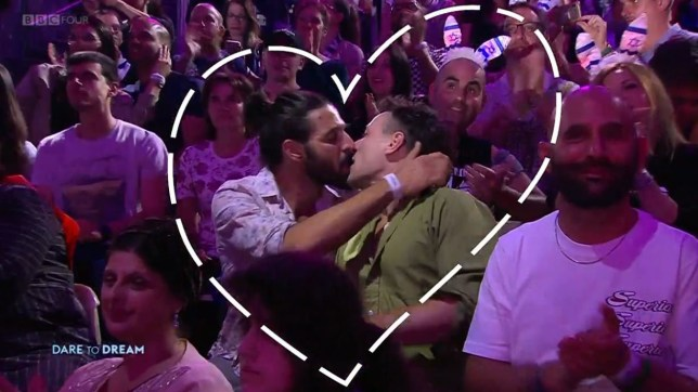 Dana International back on Eurovision Videograb of Two Men kissing during Dana's performance