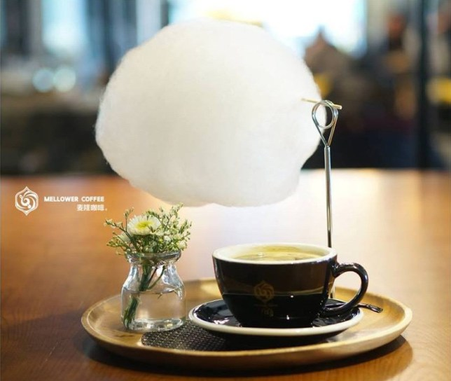 Chinese cafe serves coffee with candy floss on top so it rains sweetness