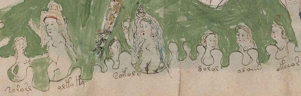 The Voynich manuscript is named after Wilfrid M Voynich, a Polish book dealer and antiquarian, who purchased the manuscript in 1912. This figure shows two women dealing with five children in a bath. The words describe different temperaments: tozosr (buzzing: too noisy), orla la (on the edge: losing patience), tolora (silly/foolish), noror (cloudy: dull/sad), or aus (golden bird: well behaved), oleios (oiled: slippery) Undated handout issued by the University of Bristol of the Voynich manuscript. Academic Dr Gerard Cheshire has succeeded where countless cryptographers, linguistics scholars and computer programs have failed ??? by cracking the code of one of the world???s most mysterious texts, the Voynich manuscript. PRESS ASSOCIATION Photo. Issue date: Wednesday May 15, 2019. See PA story EDUCATION Voynich. Photo credit should read: University of Bristol/PA Wire NOTE TO EDITORS: This handout photo may only be used in for editorial reporting purposes for the contemporaneous illustration of events, things or the people in the image or facts mentioned in the caption. Reuse of the picture may require further permission from the copyright holder.