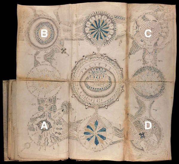 Within the manuscript there is a foldout illustrative map, provided here, that provides the necessary information to date and locate the origin of the manuscript. Vignette A illustrates the erupting volcano; B, depicts the volcano of Ischia; C shows the hows the islet of Castello Aragonese and D, represents the island of Lipari Undated handout issued by the University of Bristol of an unfolded map from the Voynich manuscript. Academic Dr Gerard Cheshire has succeeded where countless cryptographers, linguistics scholars and computer programs have failed ??? by cracking the code of one of the world???s most mysterious texts, the Voynich manuscript. PRESS ASSOCIATION Photo. Issue date: Wednesday May 15, 2019. See PA story EDUCATION Voynich. Photo credit should read: University of Bristol/PA Wire NOTE TO EDITORS: This handout photo may only be used in for editorial reporting purposes for the contemporaneous illustration of events, things or the people in the image or facts mentioned in the caption. Reuse of the picture may require further permission from the copyright holder.