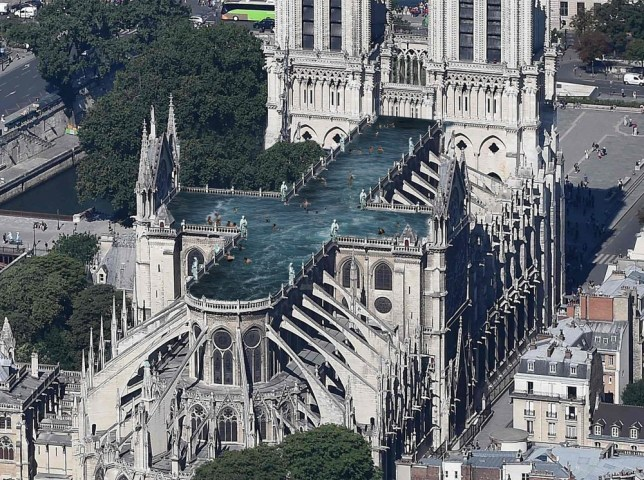 Swimming pool proposal for a new roof for Notre Dame