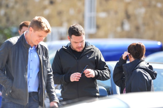 DANNY MILLER(AARON DINGLE) AND RYAN HAWLEY(ROBERT SUGDEN) FILM SCENES IN BRAHAM NEAR LEEDS.SCENES INVOLVED THEM PULLING UP AT A CAR LOT AND SPEAKING WITH STAF THE STORY IS THE HUNT FOR VICTORIA SUGDEN'S RAPIST .EXCLUSIVE ALL ROUND PICS JOHN MATHER 07810 861711