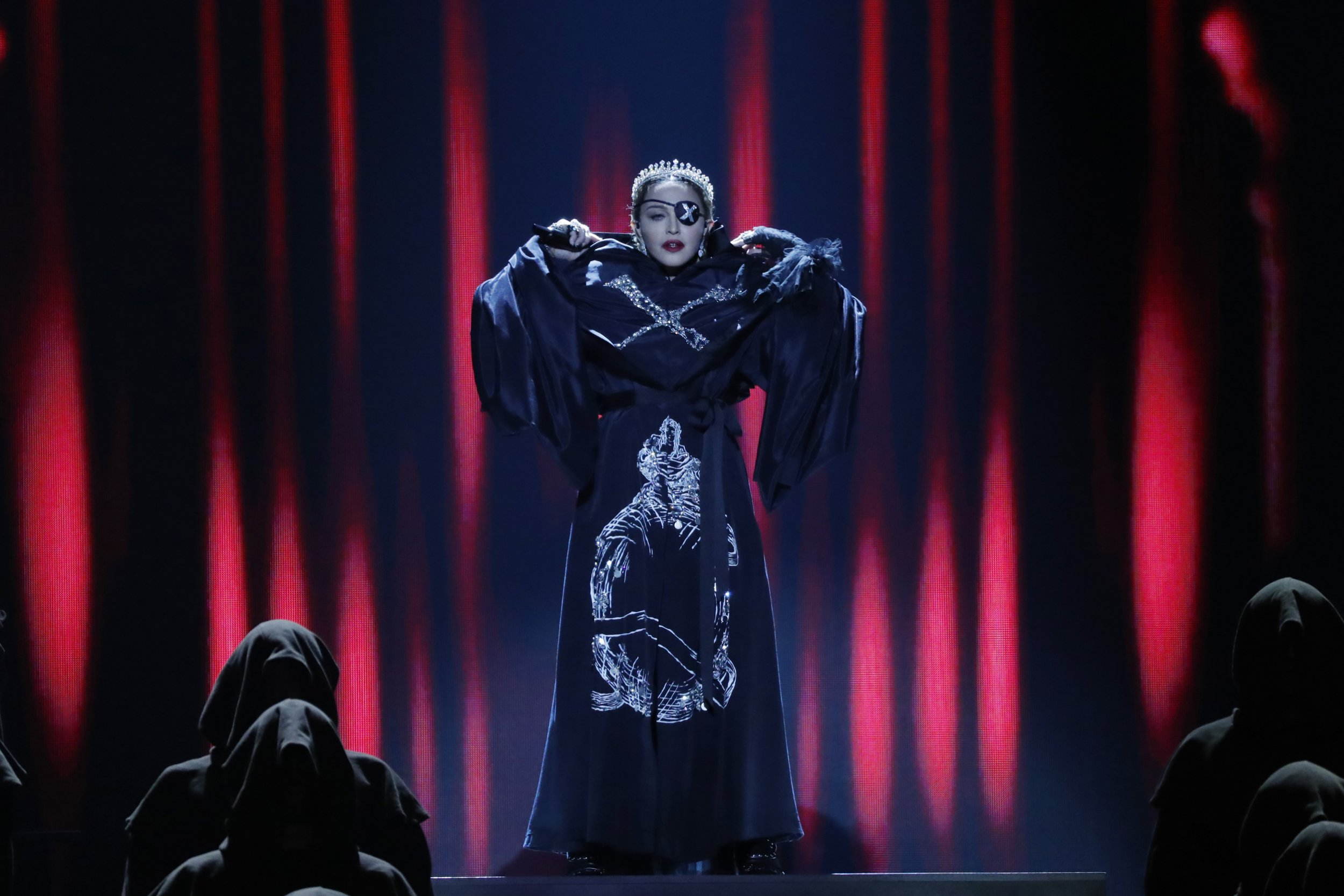 What songs did Madonna perform at Eurovision and what is her new album?