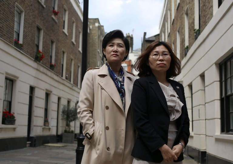 LONDON, UNITED KINGDOM, MAY 20TH 2019. Jeon Gahkim, 43, (left) and Hyeona Gi, 40, (right), North Korean defectors who were sold into the sex trade in China, are pictured in London, 20th May 2019. A report by the Korea Future Initiative, has uncovered that tens of thousands of North Korean women and girls are trafficked and sold into the sex trade in China where they are forced to endure systemic rape, sexual slavery and cybersex trafficking. Photo credit: Susannah Ireland