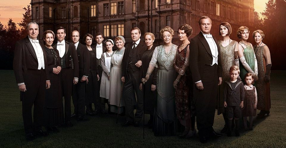 Downton Abbey expel in front of a republic estate for central film poster