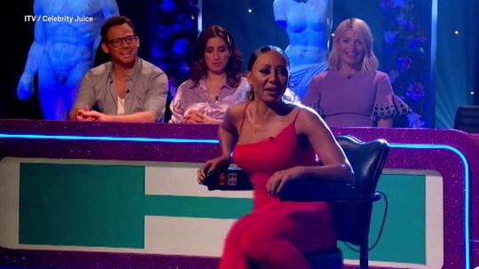 Mel B on the Wibbly Wobbly chair 5 second fool