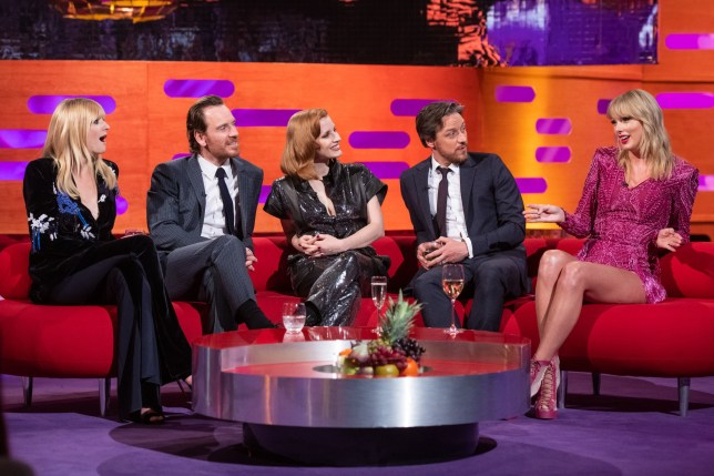 (left to right) Sophie Turner, Michael Fassbender, Jessica Chastain, James McAvoy and Taylor Swift during the filming of the Graham Norton Show at BBC Studioworks 6, Television Centre, Wood Lane, London, to be aired on BBC One on Friday evening. PRESS ASSOCIATION Photo. Picture date: Thursday May 23, 2019. Photo credit should read: Matt Crossick/PA Wire